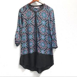 Daniel Rainn Sheer Graphic Print Button Up Blouse